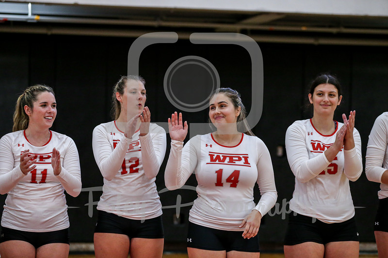 Sep. 01, 2021; Worcester, Massachusetts, USA; WPI Engineers outside hitter Suela Miloshi (14) during a non conference matchup between Regis College and WPI. The Engineers won 3-0 over the Pride at Harrington Gymnasium. Photo by Foley-Photography.