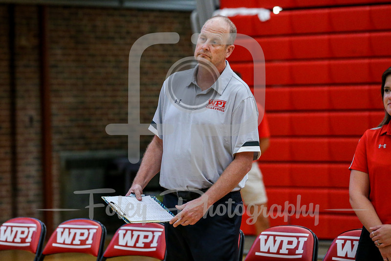 Sep. 01, 2021; Worcester, Massachusetts, USA; WPI Engineers acting head coach Leo Fahey during a non conference matchup between Regis College and WPI. The Engineers won 3-0 over the Pride at Harrington Gymnasium. Photo by Foley-Photography.