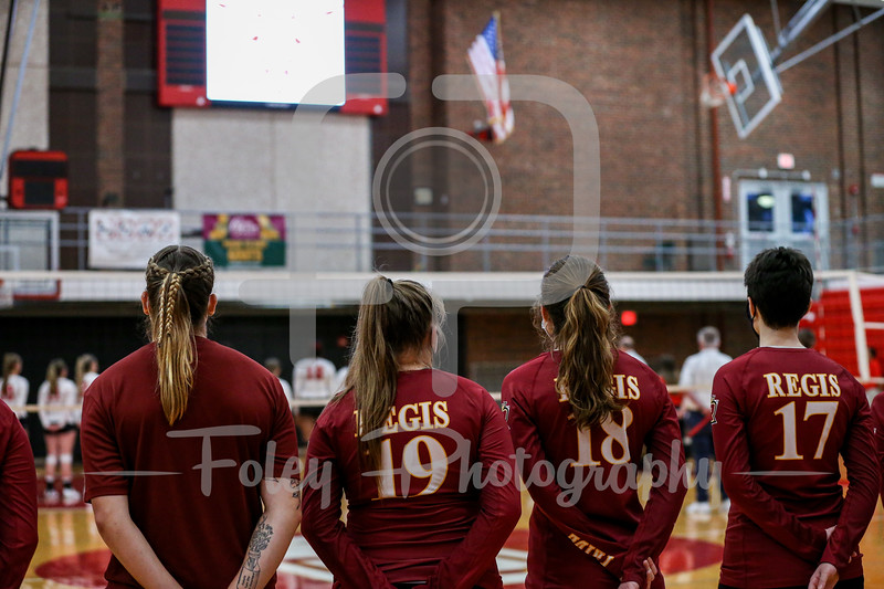 Sep. 01, 2021; Worcester, Massachusetts, USA; Regis College Pride during a non conference matchup between Regis College and WPI. The Engineers won 3-0 over the Pride at Harrington Gymnasium. Photo by Foley-Photography.