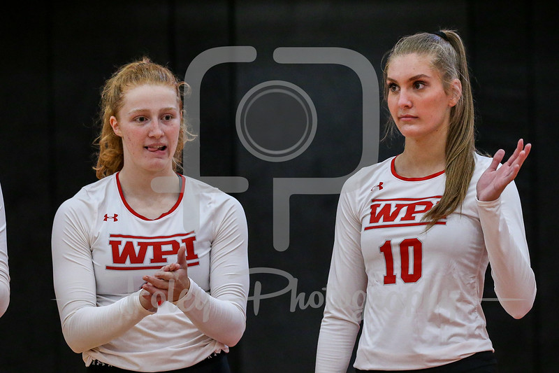 Sep. 01, 2021; Worcester, Massachusetts, USA; WPI Engineers middle hitter Renee Sawka (10) during a non conference matchup between Regis College and WPI. The Engineers won 3-0 over the Pride at Harrington Gymnasium. Photo by Foley-Photography.