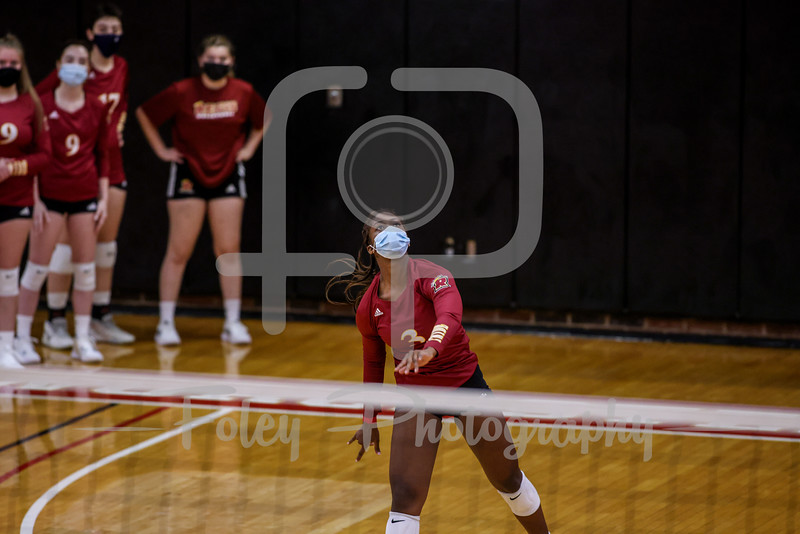 Sep. 01, 2021; Worcester, Massachusetts, USA; Regis College Pride right side hitter Tyler Wax (3) during a non conference matchup between Regis College and WPI. The Engineers won 3-0 over the Pride at Harrington Gymnasium. Photo by Foley-Photography.