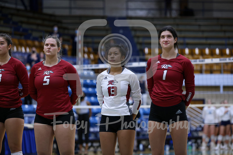 Sep. 10, 2021; Kingston, Rhode Island, USA;  during a non conference matchup between Rider College and URI. The Rams won the match 3-1 over the Broncs at Keaney Gymnasium. Photo by Foley-Photography.