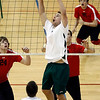 Central Dauphin's Connor Ecklund, sets up teammate Dan Bayer, against Warwick, during pool play at the District 3 class AAA volleyball tournament at Central York High School Wednesday May 20, 2009.<br /> CHRIS KNIGHT