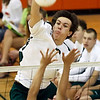 Central Dauphin's Jon Lutz, with a kill against Conestoga Valley, during pool play at the District 3 class AAA volleyball tournament at Central York High School Wednesday May 20, 2009.<br /> CHRIS KNIGHT