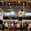 Central Dauphin's Jon Lutz, goes up for a kill against Cumberland Valley, during the Mid-Penn Volleyball Championships at Central Dauphin East High School Wednesday May 13, 2009.<br /> CHRIS KNIGHT