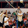 Central Dauphin's Connor Ecklund, sets up up teammate Jon Lutz, against Cumberland Valley, during the Mid-Penn Volleyball Championships at Central Dauphin East High School Wednesday May 13, 2009.<br /> CHRIS KNIGHT