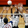 Central Dauphin's Connor Ecklund, left, Lance Johnson, and Jon Lutz, go up for a block against Conestoga Valley, during pool play at the District 3 class AAA volleyball tournament at Central York High School Wednesday May 20, 2009.<br /> CHRIS KNIGHT