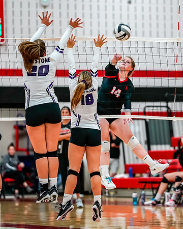 Brookside #14 Lauren Sheehan with the kill shot past Keystone #20 Taylor Whitney and #18 McKenna Saterlee Tuesday September 11.  photo Joe Colon