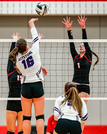 Keystone Brienne Guyeska tries to hit over the block from Brookside #15 Taya Neal and #1 Jenna Rothman Tuesday September 11.  photo Joe Colon