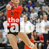 Sophomore, Alyssa Wallace passes the ball to Brittany Hamilton in the 2nd set of the state semi finals against Navarro on Thursday, Nov. 17 at Curtis Culwell Center in Garland, TX. (Caleb Miles / Contributor)