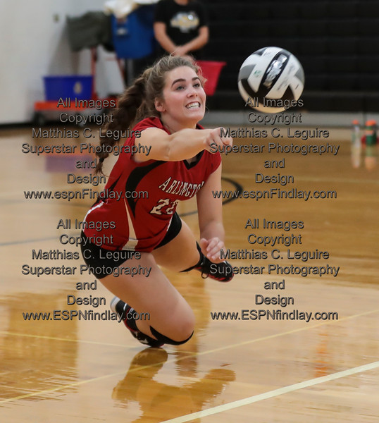 Arlington's Abigail Lotz (22) dives to keep the ball alive, the Red Devils eventually scored the point for this volley.