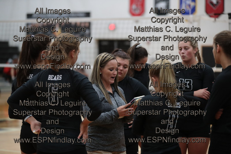 HN head coach Kylie Hooker talks with her team as they prepare to face Ada.