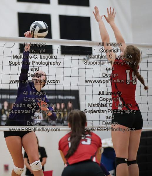 Ada's Megan Light (11) gets a point killing the ball past Arlington's Abbie Sheets (18).