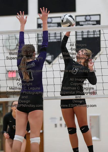 HN's Megan Miller (6) tips the ball over Ada's Megan Light (11) for a point.