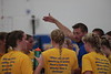 Findlay head coach Justin Rohrer tells his players their positions prior to their match against Sylvania Northview.