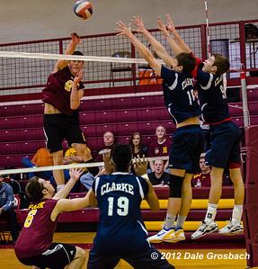 Image #0293  January 19, 2013; Parkville, MO; Park University (MO) Pirates Men's Volleyball vs. Clarke University (IA) Crusaders.  Mandatory Credit: Dale Grosbach-Dale G Sports
