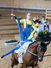 Bayerische Meisterschaften Voltigieren 2018, München-Riem, Olympia Reitanlage, Junior-Pas de deux, Amei Wittmann & Anna Bregulla, VuPSV Schloß Rathsberg, Pferd: Fernando, Longe Dagmar Szemes