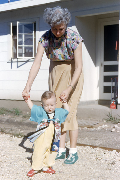 [BP] June '53. Grace holding Randy to show off his Kimono that Med and Guich sent him.