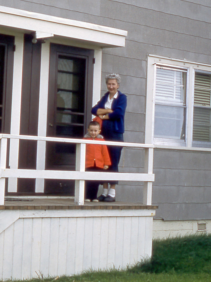 [BP] September '57. Grace and Randy back from Sunday School going into our front door.
