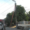Power line transformer replacement in Puerto Cortez.