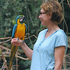 Kim with Blue-and-gold Macaw at the Macaw Mountain Bird Park and Nature Reserve (Parque de Aves y Reserva Natural) at Ruinas de Copan.
