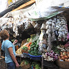 Kim shopping for spices at market in Ruinas de Copan