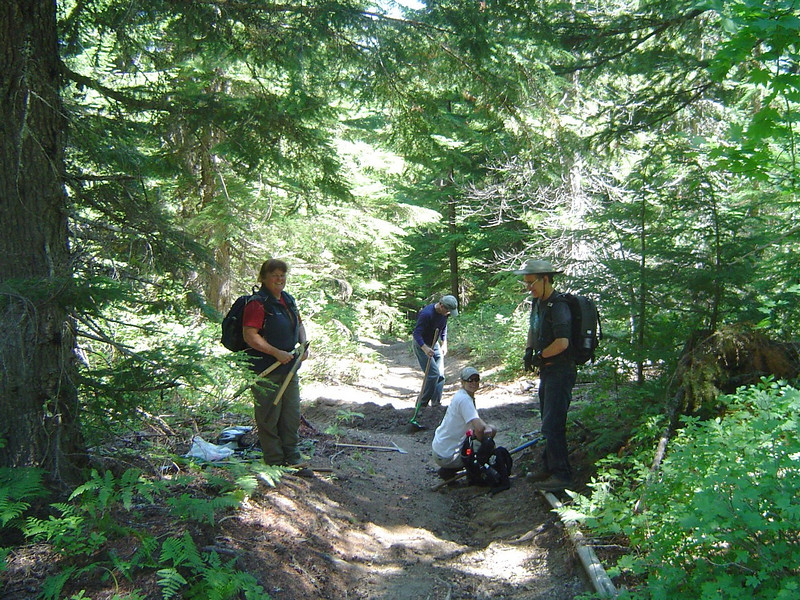 I decided to do trail work rather than ride. This is the Forest Service trail work crew on the Spencer Butte trail.
