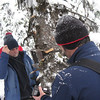 Brian Kelly, Restoration Coordinator, and Greg Dyson, Executive Director, istalling remote cameras for American Pine Marten study, near Anthony Lakes