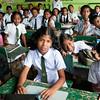 Children at a Muslim school await English lesson.