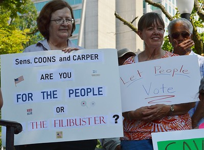 Abolishing the Senate filibuster was a key issue for supporters of voting rights legislation at this rally in Wilmington, DE.