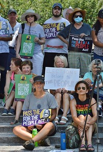 These people were part of the crowd who rallied in Wilmington, DE to support voting rights legislation before the Congress in Washington.