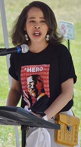 U.S. Representative Lisa Blunt Rochester (D-DE) speaks at a rally to support voting rights legislation.