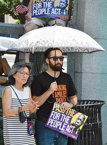 This member of the Working Families Party was among the supporters of voting rights legislation before the U.S. Congress, at this rally in Wilmington, DE.