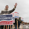 Tuesday the candidates were out holding signs at the polls in Fitchburg, Nov. 5, 2019. Councilor-at-large candidate Michael Kushmerek at the polls in front of Memorial Middle School. SENTINEL & ENTERPRISE/JOHN LOVE