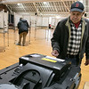 Tuesday the candidates were out holding signs at the polls in Fitchburg, Nov. 5, 2019. Ernest Garcia cast his ballot at the polls in the Senior Center. SENTINEL & ENTERPRISE/JOHN LOVE