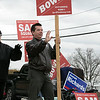 Tuesday the candidates were out holding signs at the polls in Fitchburg, Nov. 5, 2019. Waving to cars as they passed by is candidate Joe Bowen for Ward 3 councilor at the polls in front of Memorial Middle School. SENTINEL & ENTERPRISE/JOHN LOVE