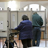 Tuesday the candidates were out holding signs at the polls in Fitchburg, Nov. 5, 2019. Votyeers fill out their ballots at the polls at the Senior Center. SENTINEL & ENTERPRISE/JOHN LOVE
