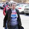 "HOLLY PELCZYNSKI - BENNINGTON BANNER Francis Hicks, of Bennington marches into the Bennington Fire house, prepared to cast her vote wearing a ""Anyone but Trump 2020"" Tee shirt on Tuesday afternoon during primary day in Bennington."