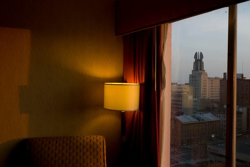 USA. Rochester, New York. 2013. Hotel room.