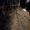 G.B. ENGLAND. London. Tangle of wires at a recording studio being used by the rock group BLUR. 2003