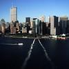 USA. New York City. 1998. Lower Manhattan, seen from the Staten Island Ferry.