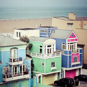 Maisons colorées de la plage de Santa Monica
