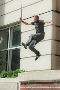 Guys practising Parkour at Columbia University