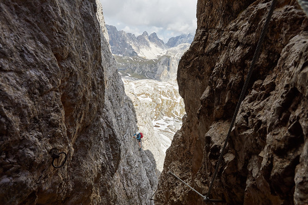 Via ferrata Torre di Toblin, Dolomites, Italie