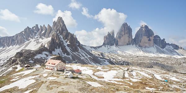 Monte Paterno, Rifugio Locatelli, Tre Cime di Lavaredo, Dolomites, Italie