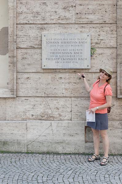 Une plaque rappelant le passage de trois illustres compositeurs de la famille Bach