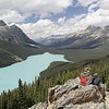 Le fameux lac Peyto.  Oui il est à voir pour sa tête de loup et pour sa couleur turquoise.