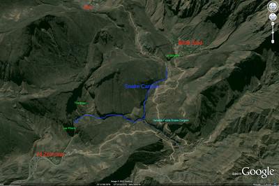 Snake Canyon, accès.