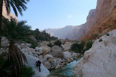 Enfin bref, après avoir contourné la palmeraie par un chemin RG, on atteind un grande grotte. Puis on monte à vue en traversant le Wadi Tiwi (photo) pour rejoindre l'angle de la face...