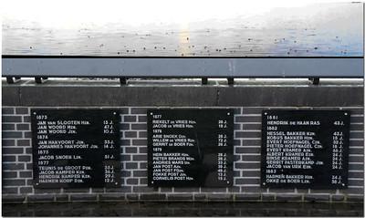 Sur cette place, les plaques du muret indiquent le nom et l'âge des pêcheurs disparus en mer depuis la fin du XVIIIème siècle (le plus jeune 'pêcheur' avait juste 10 ans !)